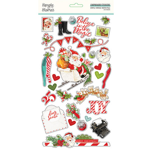 Simple Stories - Simple Vintage North Pole Collection - 6 x 12 Chipboard Stickers