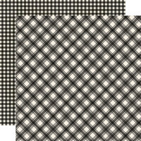 Simple Stories - Jingle All The Way Collection - 12 x 12 Double Sided Paper - Coal Plaid and Gingham