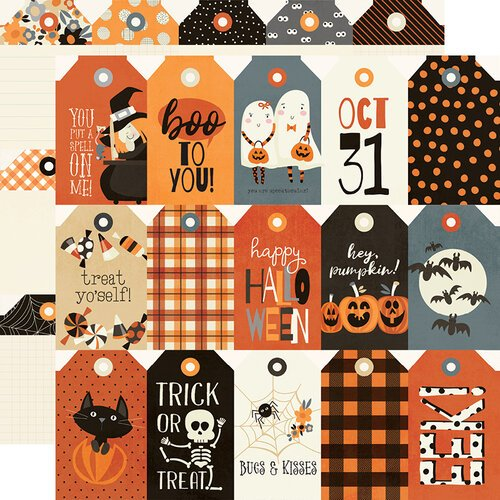 Simple Stories - Boo Crew Collection - 12 x 12 Double Sided Paper - Tags