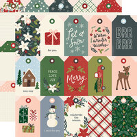 Simple Stories - Winter Cottage Collection - 12 x 12 Double Sided Paper - Tags