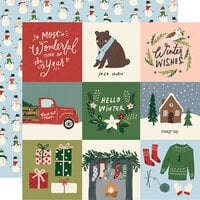 Simple Stories - Winter Cottage Collection - 12 x 12 Double Sided Paper - 4 x 4 Elements