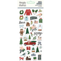 Simple Stories - Winter Cottage Collection - Puffy Stickers