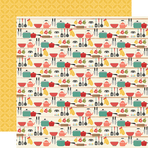 Simple Stories - Apron Strings Collection - 12 x 12 Double Sided Paper - Lick the Bowl