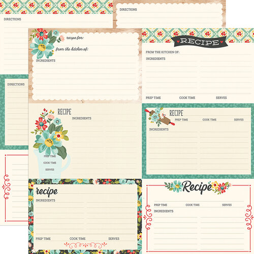 Simple Stories - Apron Strings Collection - 12 x 12 Double Sided Paper - Recipe Cards