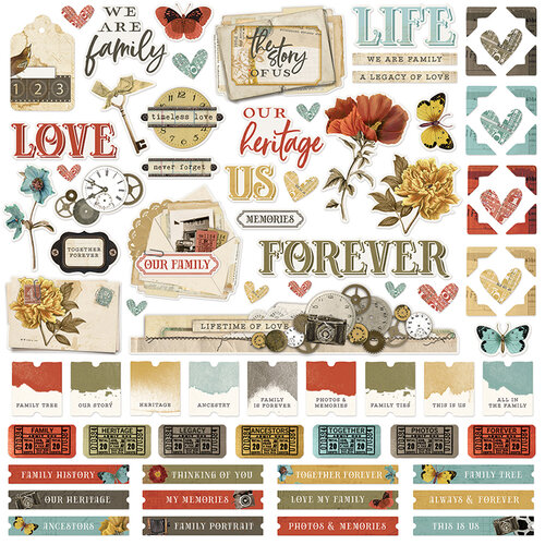Simple Stories - Simple Vintage Ancestry Collection - 12 x 12 Cardstock Stickers
