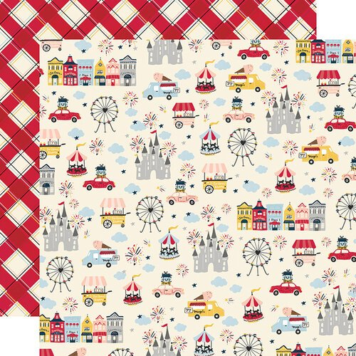Simple Stories - Say Cheese Main Street Collection - 12 x 12 Double Sided Paper - Go See Ride