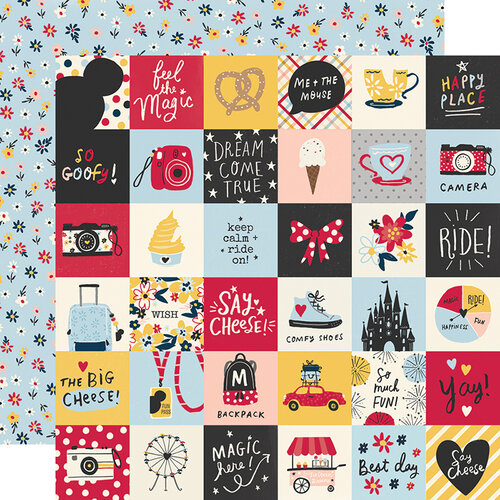 Simple Stories - Say Cheese Main Street Collection - 12 x 12 Double Sided Paper - 2 x 2 Elements