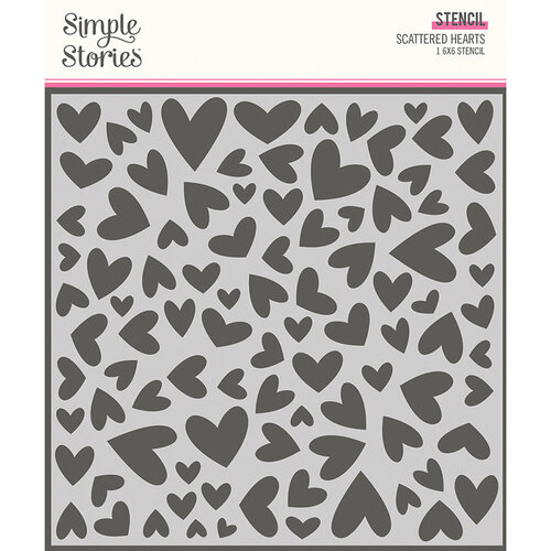 Simple Stories - Sweet Talk Collection - 6 x 6 Stencil - Scattered Hearts
