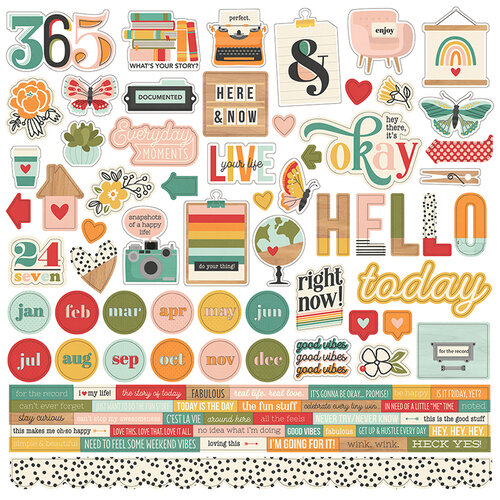 Simple Stories - Hello Today Collection - 12 x 12 Cardstock Stickers
