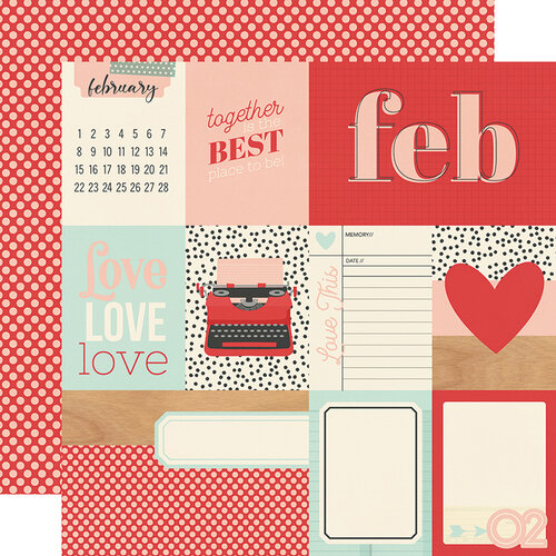 Simple Stories - Hello Today Collection - 12 x 12 Double Sided Paper - February