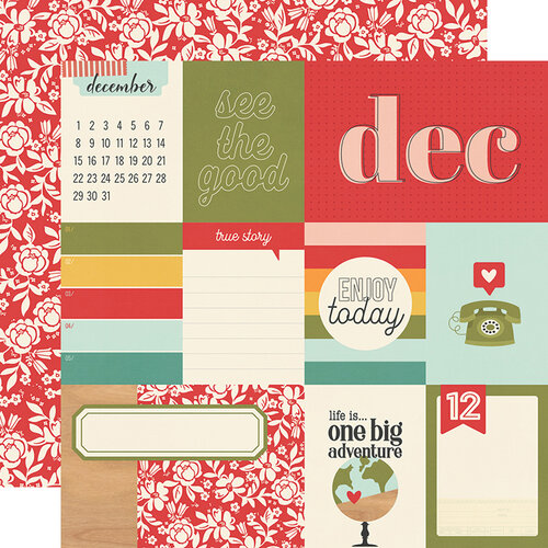 Simple Stories - Hello Today Collection - 12 x 12 Double Sided Paper - December