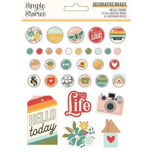 Simple Stories - Hello Today Collection - Decorative Brads