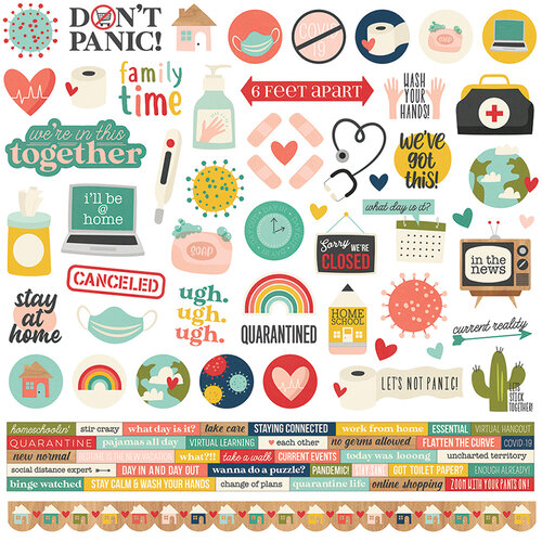 Simple Stories - Quarantined Collection - 12 x 12 Cardstock Stickers