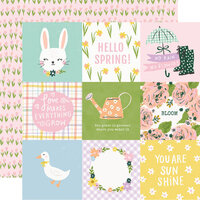 Simple Stories - Bunnies and Blooms Collection - 12 x 12 Double Sided Paper - 4 x 4 Elements