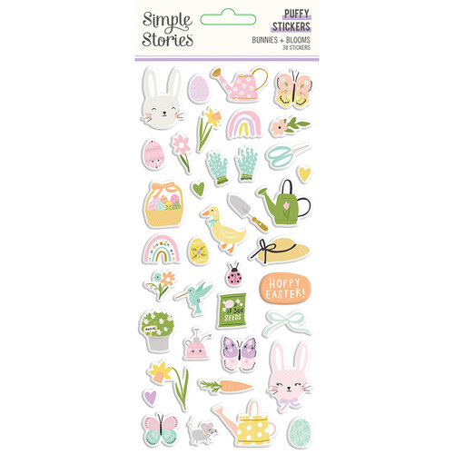 Simple Stories - Bunnies and Blooms Collection - Puffy Stickers
