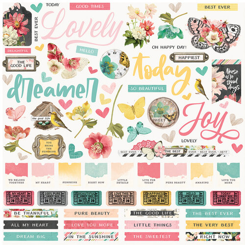 Simple Stories - Simple Vintage Cottage Fields Collection - 12 x 12 Cardstock Stickers
