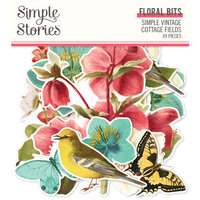 Simple Stories - Simple Vintage Cottage Fields Collection - Ephemera - Floral Bits and Pieces