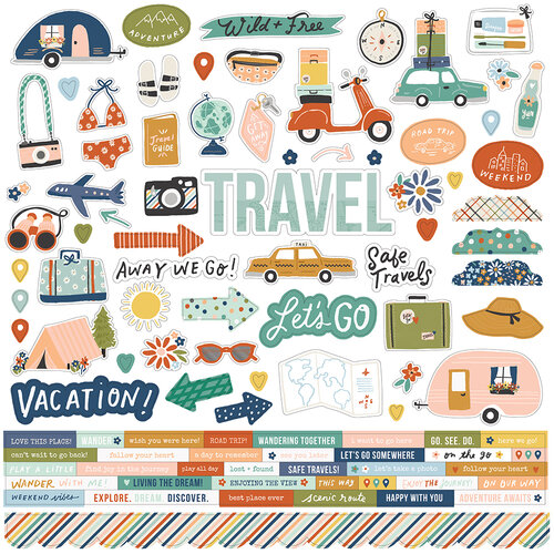 Simple Stories - Safe Travels Collection - 12 x 12 Cardstock Sticker Sheet