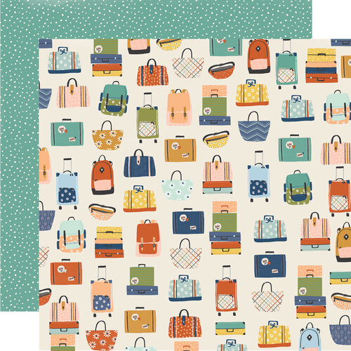 Simple Stories - Safe Travels Collection - 12 x 12 Double Sided Paper - Baggage Claim