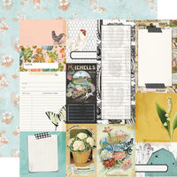 Simple Stories - Simple Vintage Farmhouse Garden Collection - 12 x 12 Double Sided Paper - Journal Elements