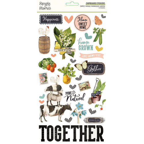 Simple Stories - Simple Vintage Farmhouse Garden Collection - 6 x 12 Chipboard Stickers