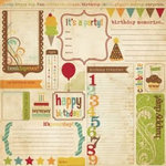 Memory Works - Simple Stories - Happy Day Collection - 12 x 12 Double Sided Paper - Birthday Memory