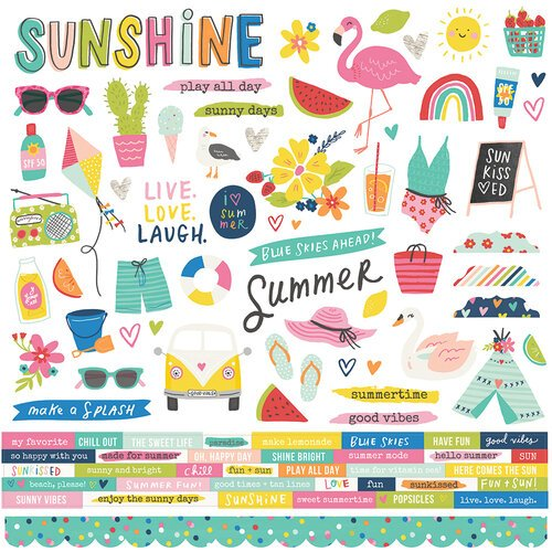 Simple Stories - Sunkissed Collection - 12 x 12 Cardstock Stickers
