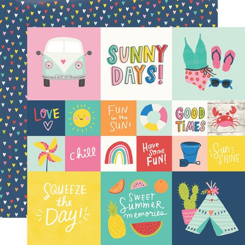 Simple Stories - Sunkissed Collection - 12 x 12 Double Sided Paper - 2 x 2 and 4 x 4 Elements