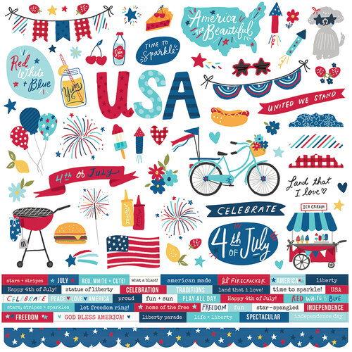Simple Stories - Stars, Stripes and Sparklers Collection - 12 x 12 Cardstock Stickers
