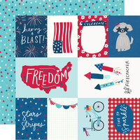Simple Stories - Stars, Stripes and Sparklers Collection - 12 x 12 Double Sided Paper - Elements and Stars