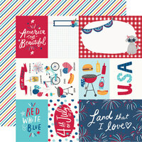 Simple Stories - Stars, Stripes and Sparklers Collection - 12 x 12 Double Sided Paper - Elements and Stripes