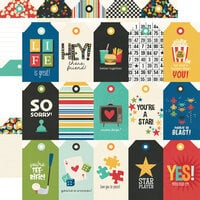 Simple Stories - Family Fun Collection - 12 x 12 Double Sided Paper - Tags