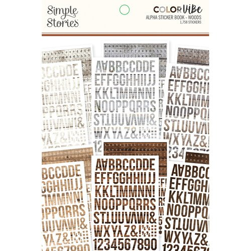 Simple Stories - Color Vibe Collection - Sticker Book - Alphabet - Woods