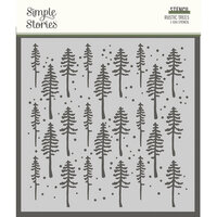 Simple Stories - Simple Vintage Rustic Christmas Collection - 6 x 6 Stencil - Rustic Trees