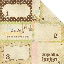 Memory Works - Simple Stories - Baby Steps Collection - 12 x 12 Double Sided Paper - Journaling Card Elements 1