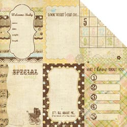 Simple Stories - Baby Steps Collection - 12 x 12 Double Sided Paper - Vertical Journaling Card Elements