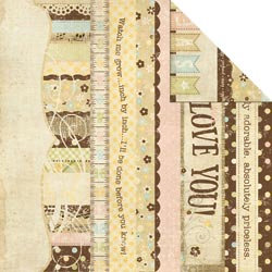 Memory Works - Simple Stories - Baby Steps Collection - 12 x 12 Double Sided Paper - Border and Title Strip Elements