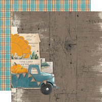 Simple Stories - Simple Vintage Country Harvest Collection - 12 x 12 Double Sided Cardstock - Happy Harvest