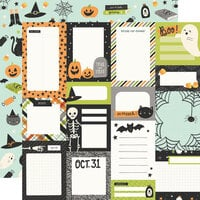 Simple Stories - Spooky Nights Collection - Halloween - 12 x 12 Double Sided Paper - Journal Elements