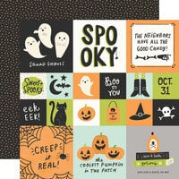 Simple Stories - Spooky Nights Collection - Halloween - 12 x 12 Double Sided Paper - 2 x 2 and 4 x 4 Elements