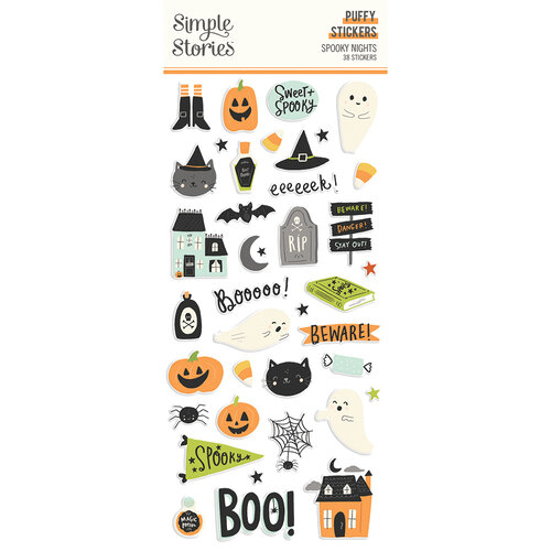 Simple Stories - Spooky Nights Collection - Halloween - Puffy Stickers