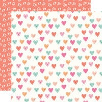 Simple Stories - Happy Hearts Collection - 12 x 12 Double Sided Paper - Wink Wink
