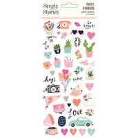 Simple Stories - Happy Hearts Collection - Puffy Stickers