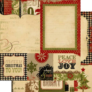 Memory Works - Simple Stories - 25 Days of Christmas Collection - 12 x 12 Double Sided Paper - Quote and Photo Mat Elements