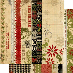 Memory Works - Simple Stories - 25 Days of Christmas Collection - 12 x 12 Double Sided Paper - Border and Title Strip Elements