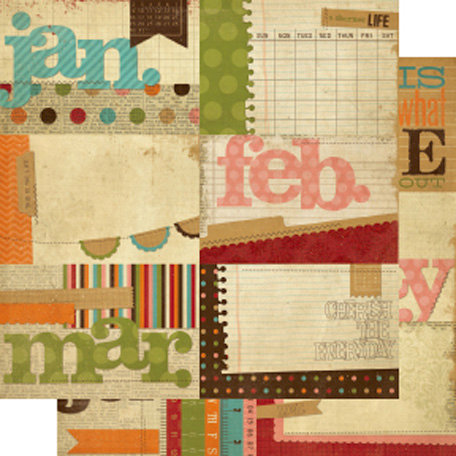 Memory Works - Simple Stories - Year-o-graphy Collection - 12 x 12 Double Sided Paper - Journaling Card Elements 1