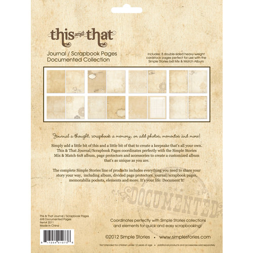 Simple Stories - This and That Collection - 6 x 8 Journal Inserts - Documented