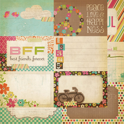 Simple Stories - Fab-U-lous Collection - 12 x 12 Double Sided Paper - Journaling Card Elements 2