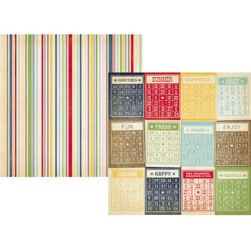 Simple Stories - Summer Fresh Collection - 12 x 12 Double Sided Paper - Bingo Cards