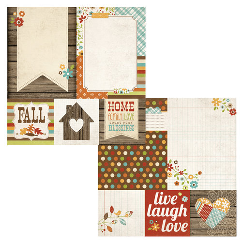Simple Stories - Harvest Lane Collection - 12 x 12 Double Sided Paper - Quote and Photo Mat Elements